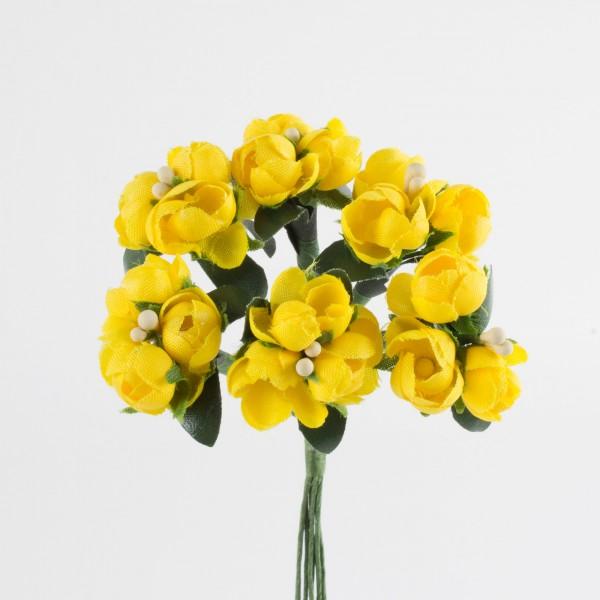 Miniröschen 10mm, 3 Blüten am Stiel, 6 Stiele/Bund