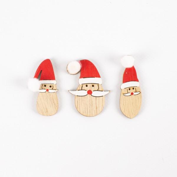Holz Weihnachtsmannkopf 45mm, sortiert